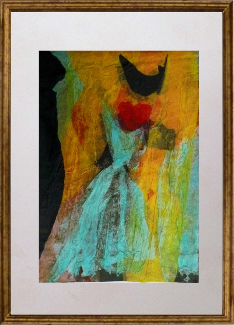 Untitled, Blue Dress - 1990s - Isabella Tirelli - Collage on Paper For Sale 1