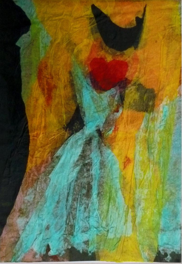 Untitled - Blue Dress is a colorful collage on paper representing a big red heart on an abstract composition.  Realized in 1998 by Isabella Tirelli Dan, this artwork is in perfect conditions, including a gold painted wooden frame (cm 38 x 53). Image