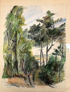 Natural Landscape - 1940s - Jacqueline Barbet - Watercolour