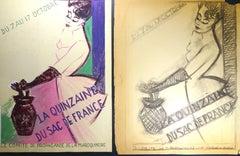 """Double Study for the Affiche """"La Quinzaine du Sac de Fr"""" - 1940s - Bernard Bécan"""