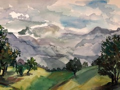 Natural Landscape with Mountains - 1890s - Pierre Outin - Watercolor - Modern