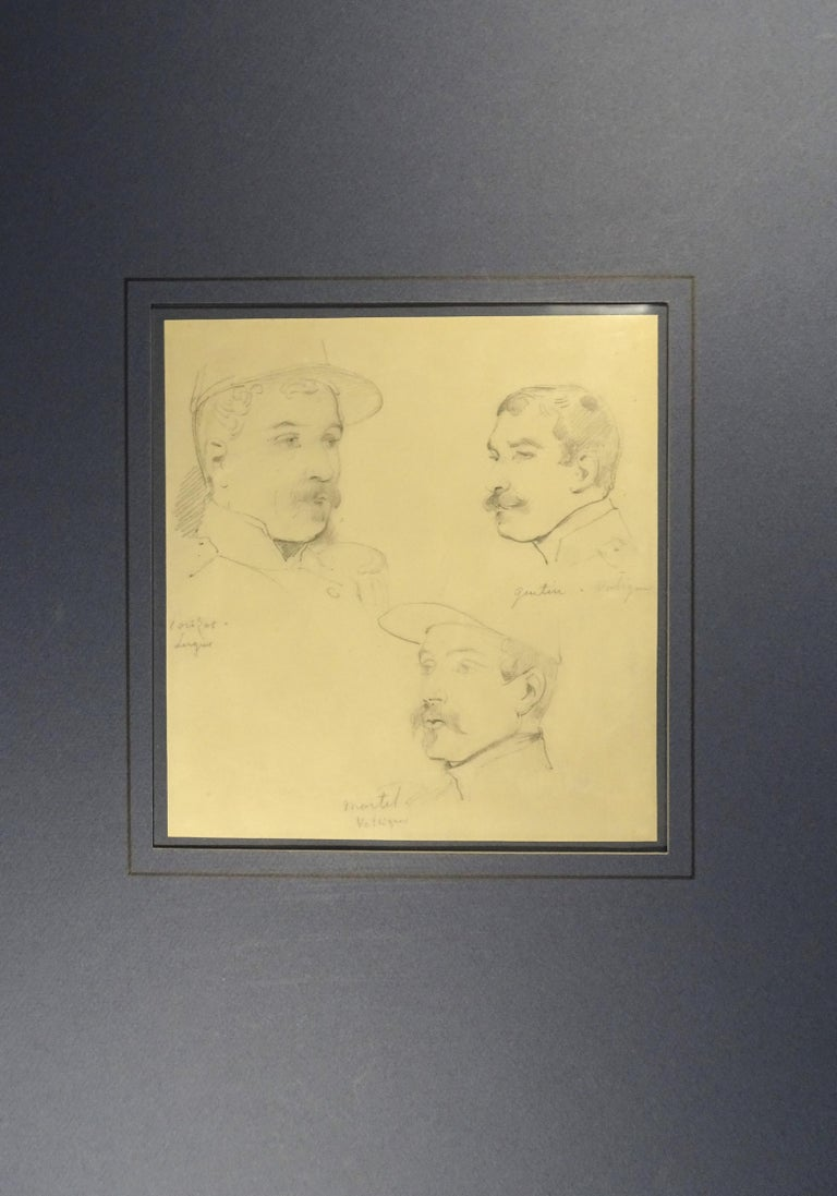 Le Soldats - Original Pencil Drawing by Horace Vernet - Orange Portrait by Émile Jean-Horace Vernet