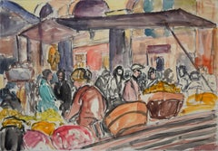The Market - Original Watercolor by William Edwards Cook - 1900-1909