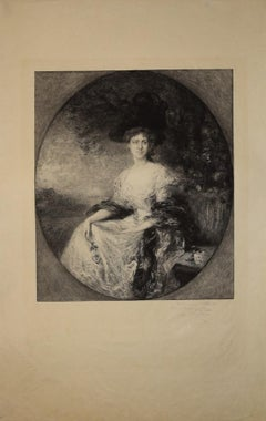 Portait of Madame - Original b/w Etching by Charles Waltner - End of 19th cent.