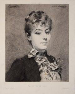 Parisienne - Original Etching by Fernand Desmoulin - 1886