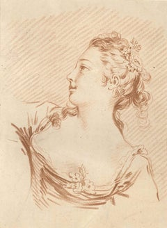 Feme Portrait - Original Lithograph by L-M Bonnet - End of 18th Century