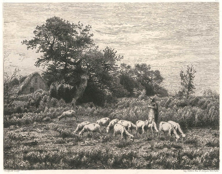 Le Petit Troupeau - Original Etching and Drypoint by J.-F. Chaigneau - 1860 - Print by Jean-Ferdinand Chaigneau
