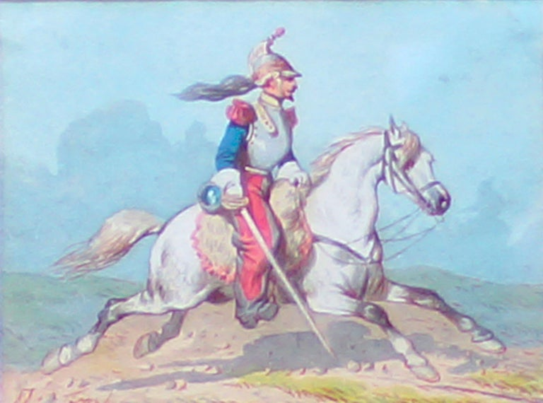 Horse Soldiers - Original Watercolor by Theodore Fort - 1844 For Sale 3