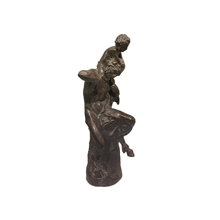 Satyr with Young Faun on his Shoulders - Bronze Sculpture by Aurelio Mistruzzi For Sale 2