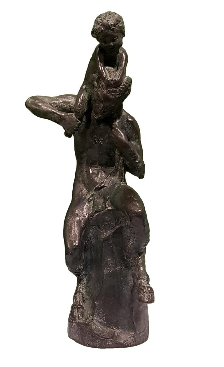 Satyr with Young Faun on his Shoulders - Bronze Sculpture by Aurelio Mistruzzi For Sale 3