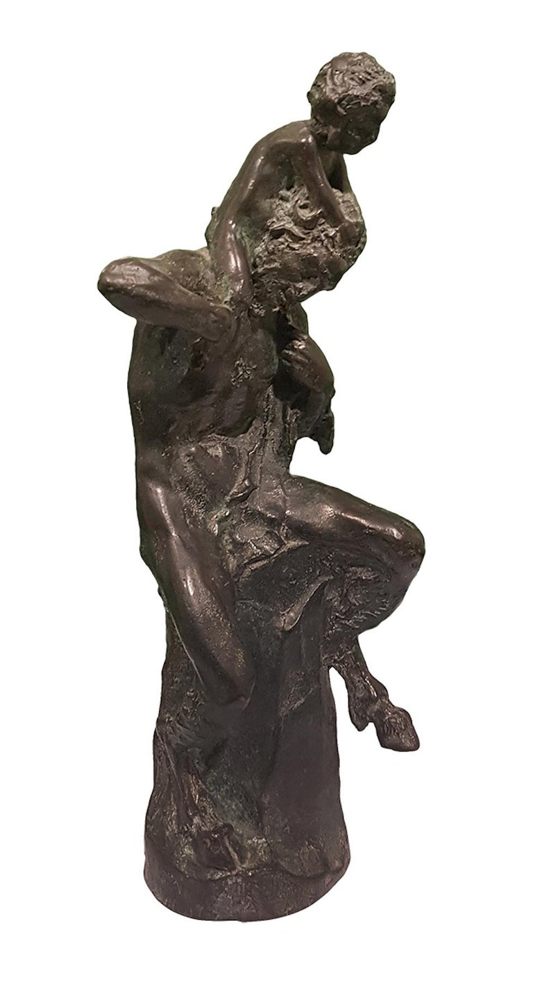 Satyr with Young Faun on his Shoulders - Bronze Sculpture by Aurelio Mistruzzi For Sale 4