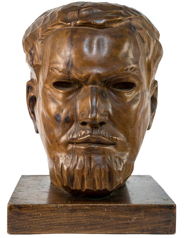 Portrait of Italo Balbo - Original Wooden Sculpture by Marco Novati - 1930s For Sale 1