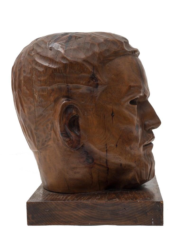 Portrait of Italo Balbo - Original Wooden Sculpture by Marco Novati - 1930s For Sale 4