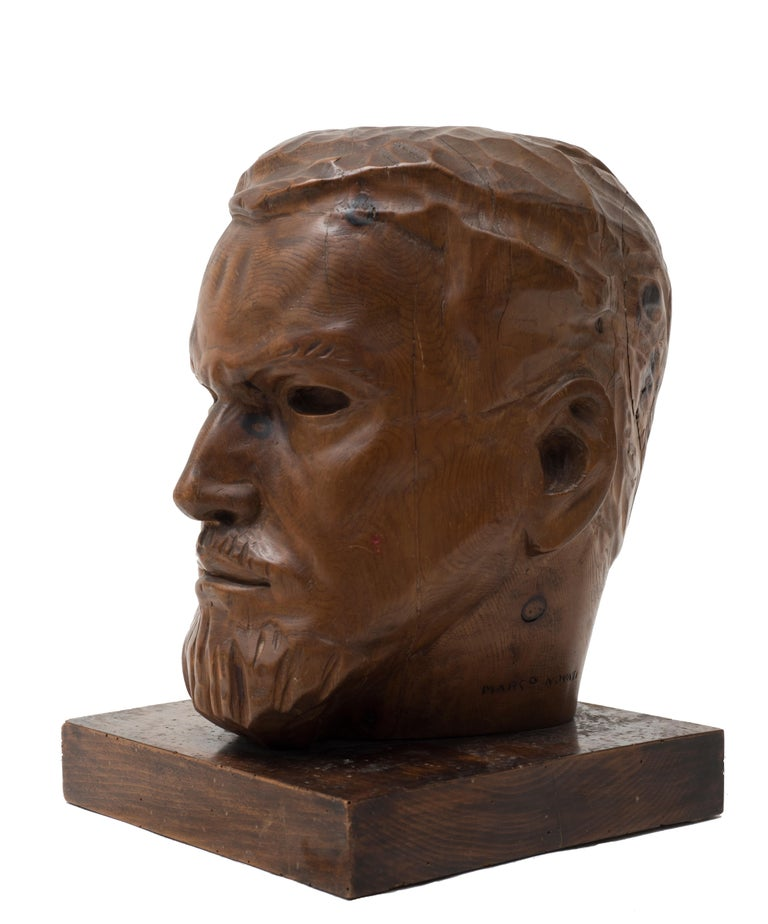 Portrait of Italo Balbo - Original Wooden Sculpture by Marco Novati - 1930s For Sale 5
