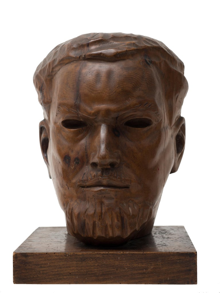Portrait of Italo Balbo - Original Wooden Sculpture by Marco Novati - 1930s For Sale 6