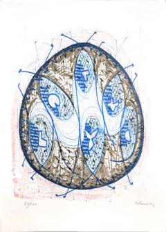 Grey And Blue Composition - 1970s - Luigi Gheno - Lithograph - Contemporary