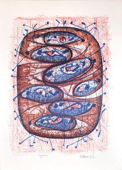 Brown And Blue Composition - 1970s - Luigi Gheno - Lithograph - Contemporary