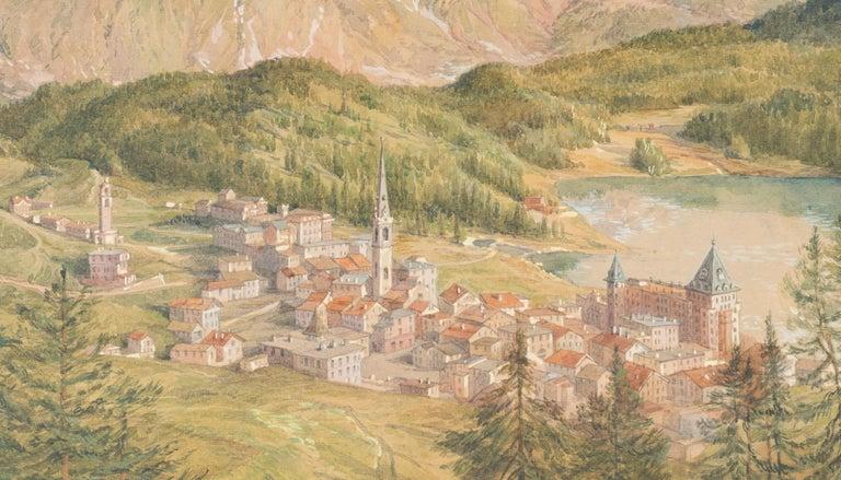 View of Sankt Moritz - Original Watercolor on paper by H. B. Wieland - 1900/1920 - Beige Figurative Art by Hans Beat Wieland