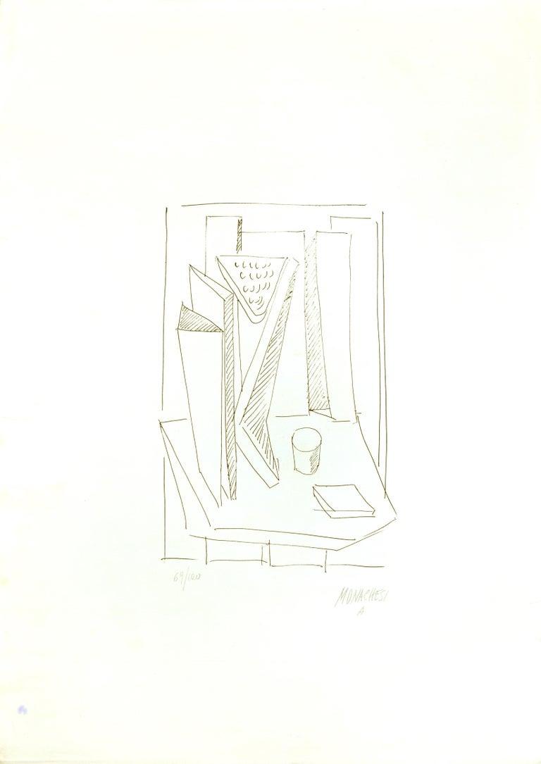 Abstract Composition - 20th Century - Sante Monachesi - Serigraph - Contemporary - Print by Sante Monachesi