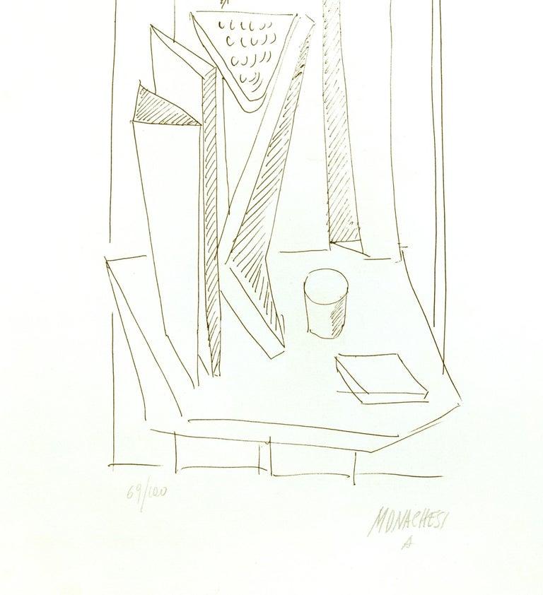 Abstract Composition - 20th Century - Sante Monachesi - Serigraph - Contemporary - White Figurative Print by Sante Monachesi