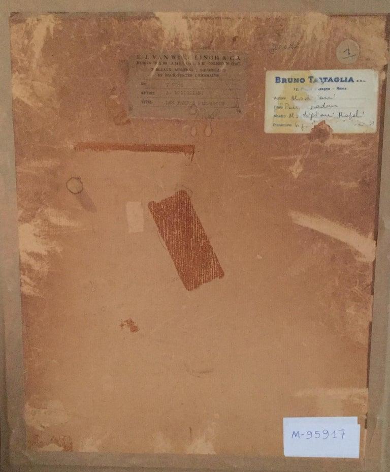 Les Pampas Pampadour -  - Original Drawing on Paper by A. Modigliani - 1916 - Orange Figurative Art by Amedeo Modigliani