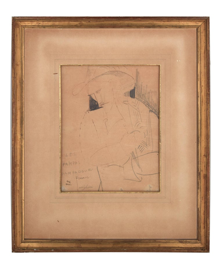 Les Pampas Pampadour -  - Original Drawing on Paper by A. Modigliani - 1916 - Art by Amedeo Modigliani