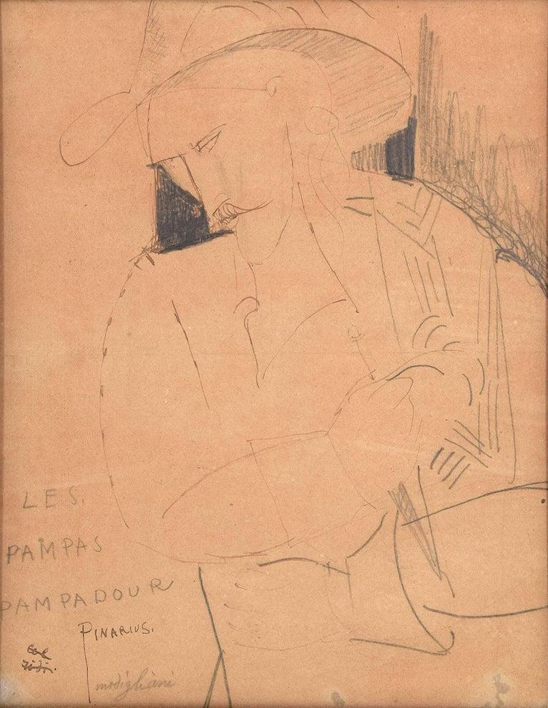 Amedeo Modigliani Figurative Art - Les Pampas Pampadour -  - Original Drawing on Paper by A. Modigliani - 1916