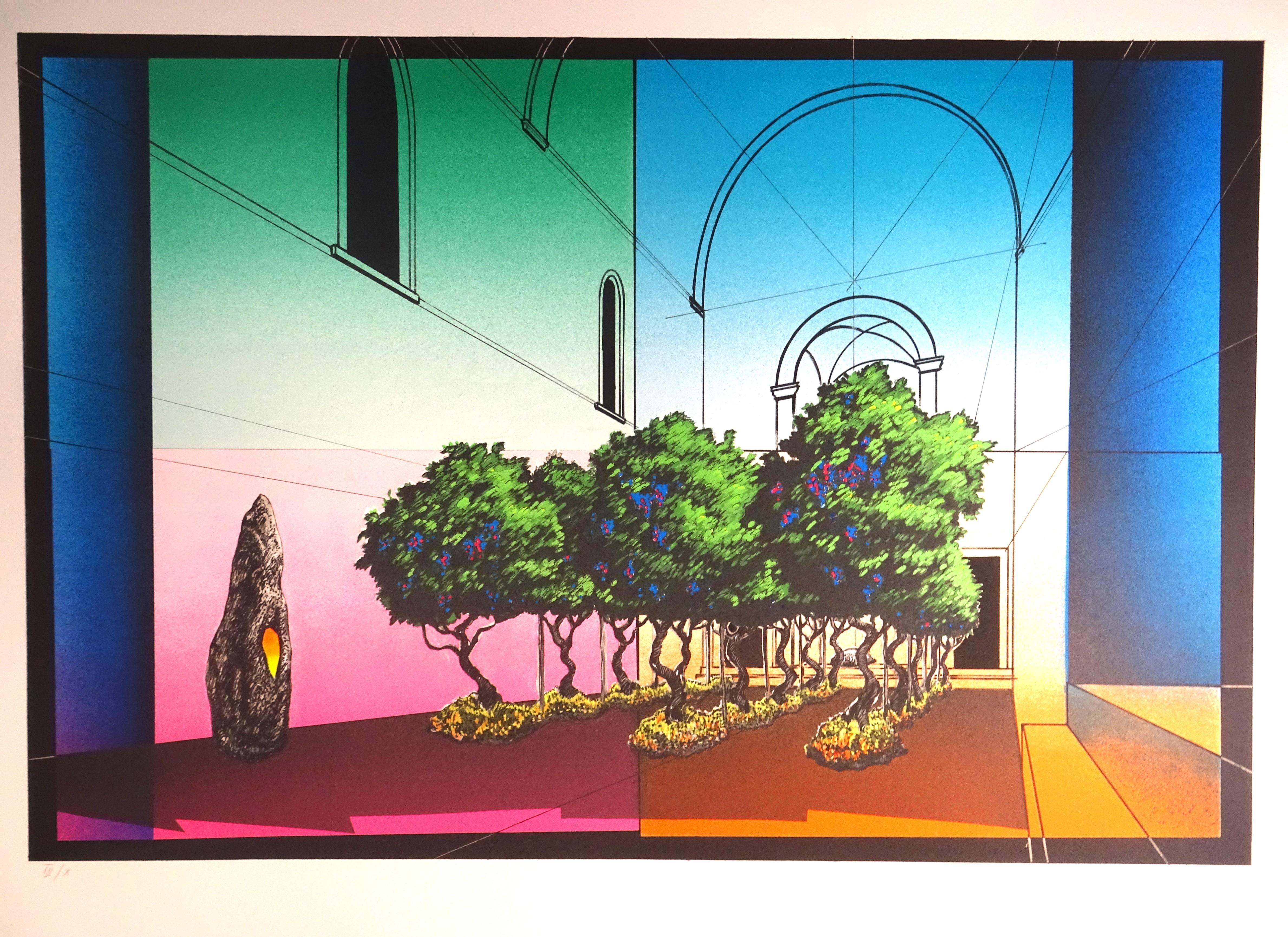 """""""Inverosimile"""" no.3 - Original Lithograph by Piero Gilardi - 1990"""