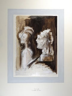 Le Marbre Amoureux - Original China Ink and Tempera by Paul Conte - 1970s