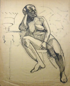 Nude of Woman - Charcoal Drawing by Gio Colucci - 20th Century