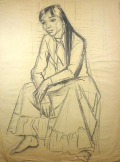 Young Woman Sitting - Charcoal Drawing by Gio Colucci - 20th Century