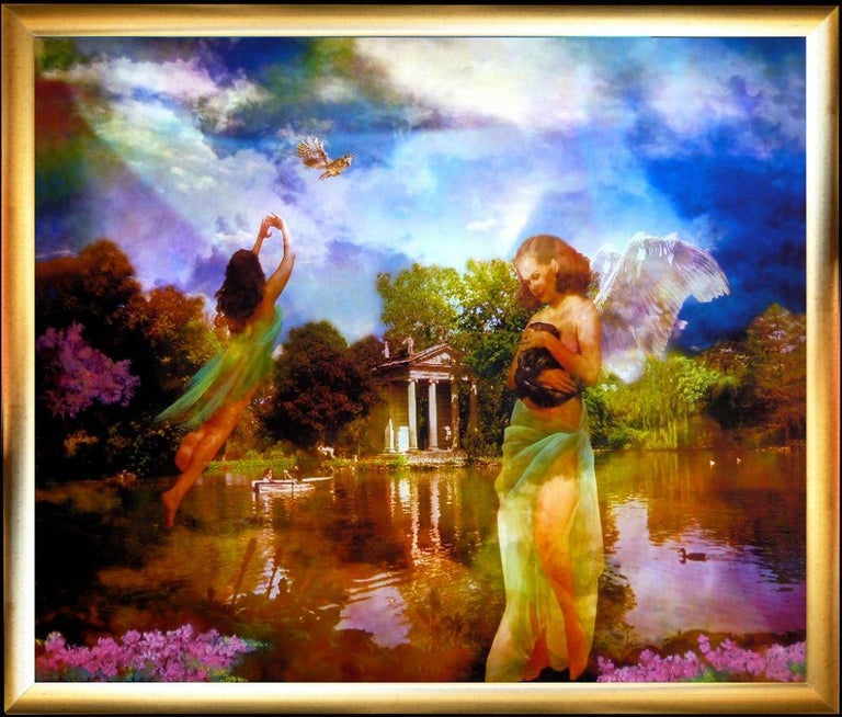 The fairies of Villa Borghese is a colorful original painting, mixed media (a digital painting printed and hand-painted on canvas) by Isabella Tirelli Dan.  Realized in 2016, this artwork is in perfect conditions, including a gold leaf wooden frame