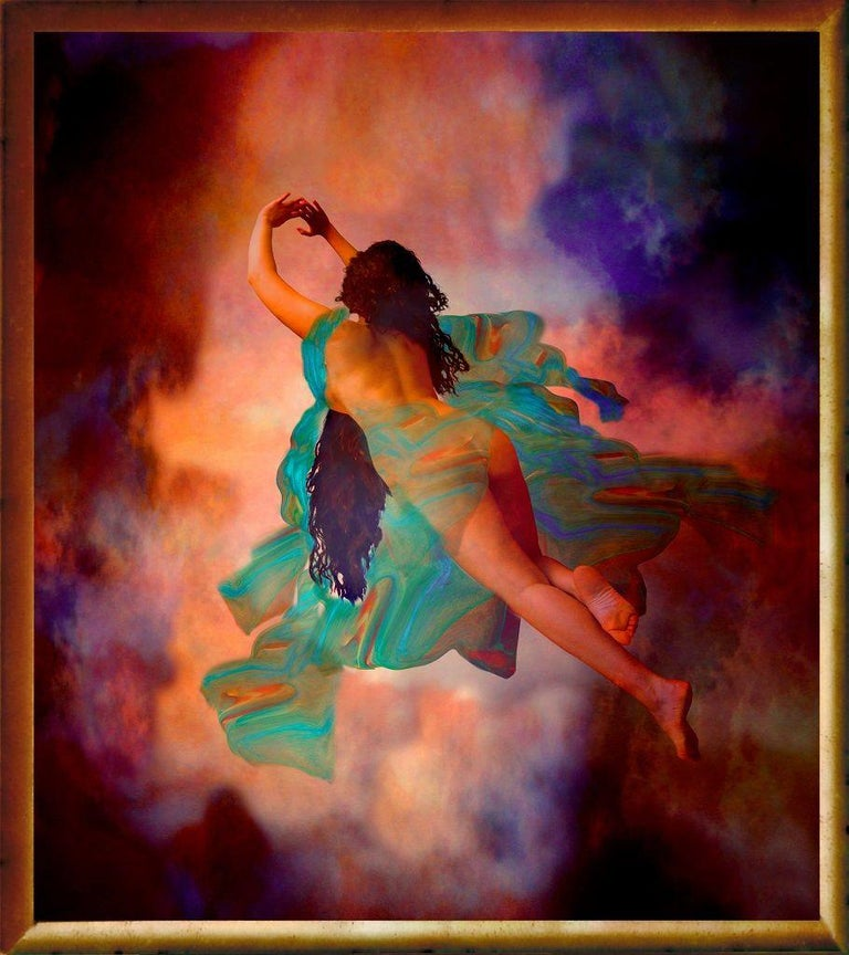 Dancing is a beautiful original painting, mixed media (digital painting printed on canvas) realized in 2015 by Isabella Tirelli Dan.  This artwork is in perfect conditions, including a gold painted wooden frame (cm 86 x 96).  The colorful artwork