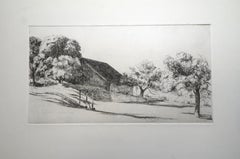 French Landscape - Original Etching by E. Corneau - 1930s