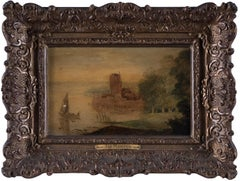 Castle and Lake - Oil on Wooden Panel by School of Jan de Momper - 17th century