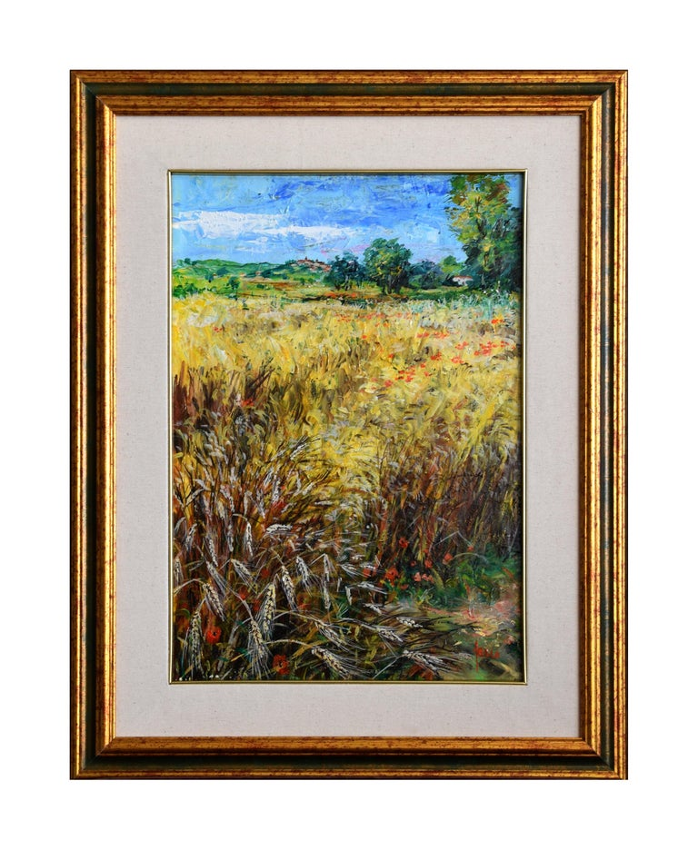Campo Di Grano is a lovely oil painting on canvas realized by the Italian contemporary artist Luciano Sacco.  It includes a frame (68 x 53 cm). Hand-signed by the artist on the lower right.  This painting represents a yellow field of wheat. In the