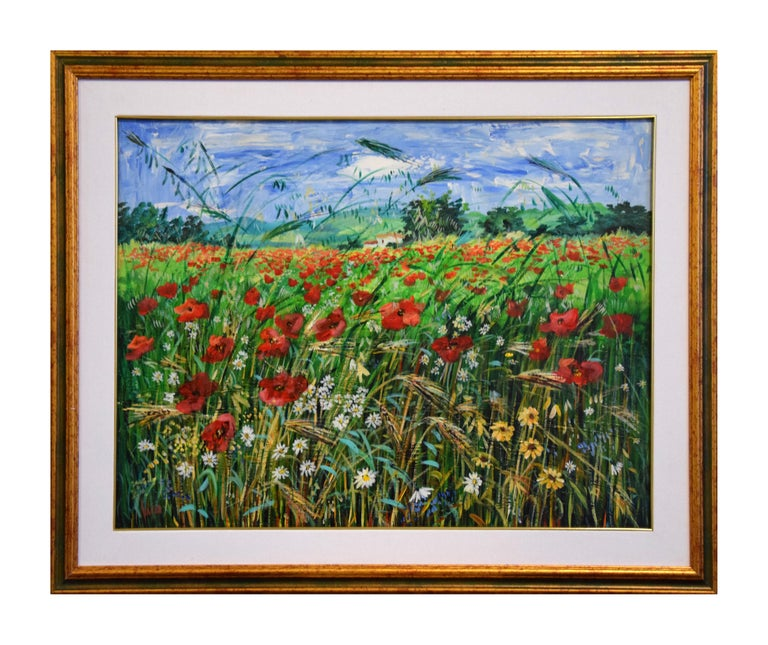 Paesaggio Toscano is an amazing oil painting on canvas realized by the Italian contemporary artist Luciano Sacco.  Including a frame (78 x 98 cm). Hand-signed by the artist on the lower left.  The painting represents a colorful rural landscape with