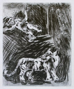 The Monkey and the Tiger  - Original Etching by Marc Chagall - 1952