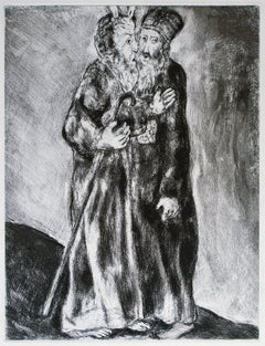 Moses Meets his Brother Aaron in the Desert  - Original Etching by M. Chagall
