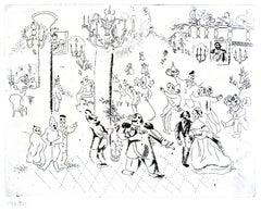 La Soirée chez le Gouverneur  - Original Etching by M. Chagall - 1923-27
