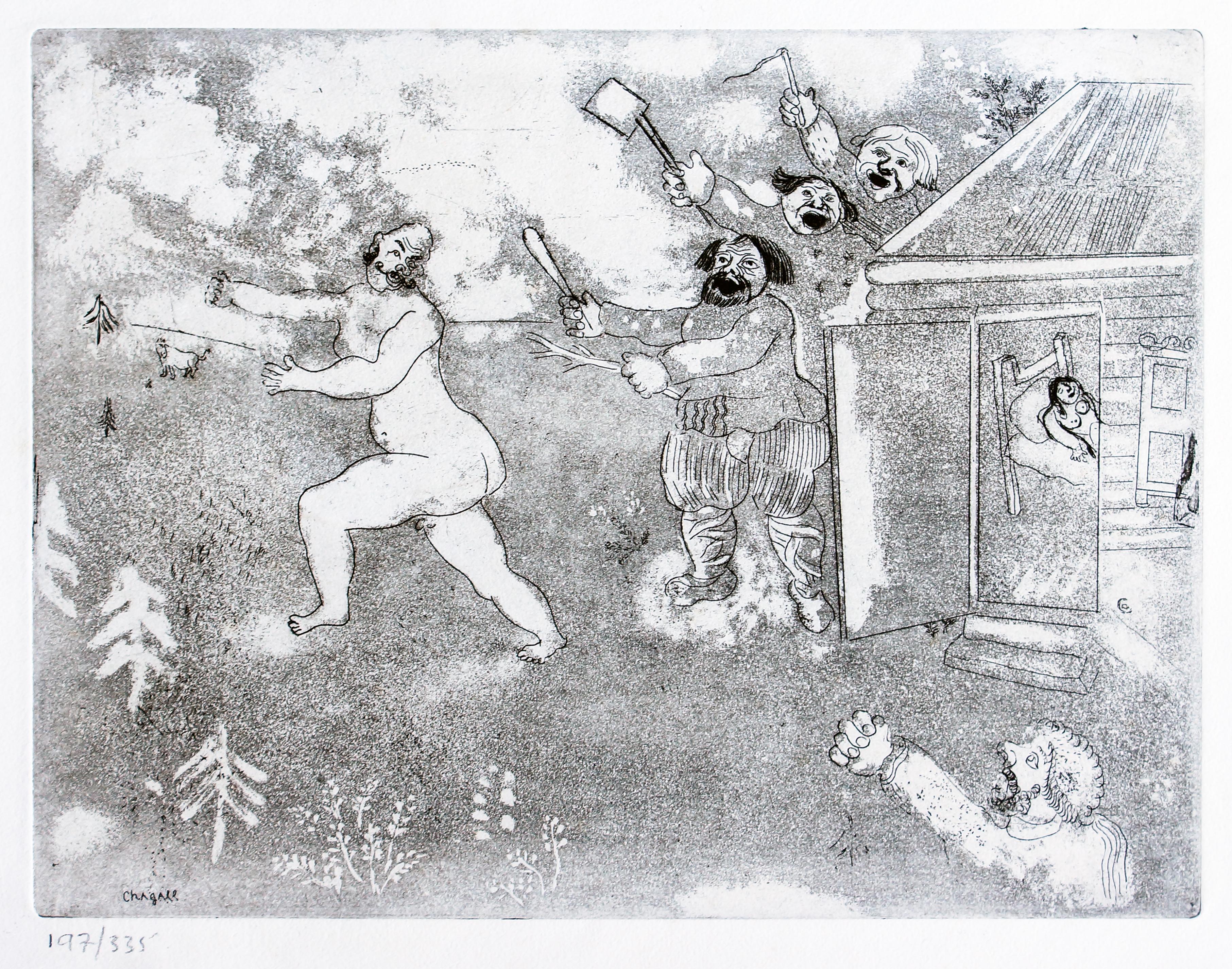 La Suite tout Nu  - Original Etching by M. Chagall - 1948