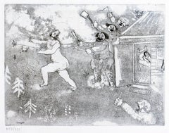 La Suite tout Nu  - Original Etching by M. Chagall - 1948