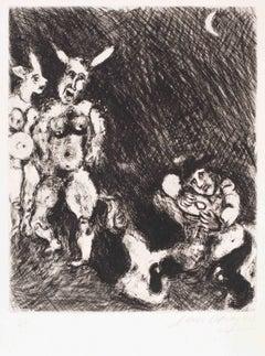 Le Satyre et le Passant  - Original Etching by Marc Chagall - 1927-30