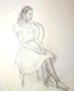 Girl - Original Pencil Drawing by J.L. Rey Vila - 1959