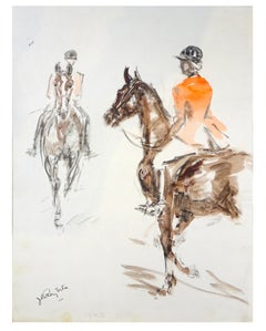 Horseman - Original Tempera and Watercolor by J.L. Rey Vila