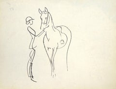 Silhouette of Horseman and Horse - Original China Ink Drawing by J.L. Rey Vila