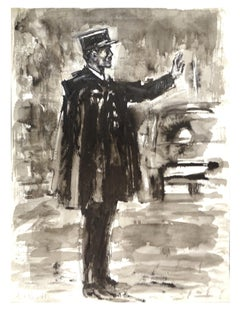 Policeman - Original Tempera and Watercolor by J.L. Rey Vila