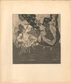 The Libertine - Original Etching an Aquatint by Franz von Bayros - 1907
