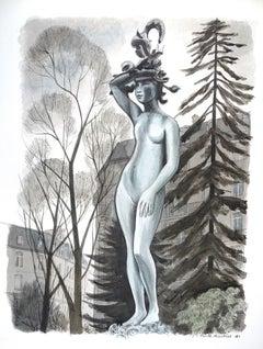 The Statue - 1980s - Emile Deschler - Watercolor - Modern