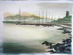 L'Eau Tranquille (Corse) - 1970s - Emile Deschler - Gouache - Modern